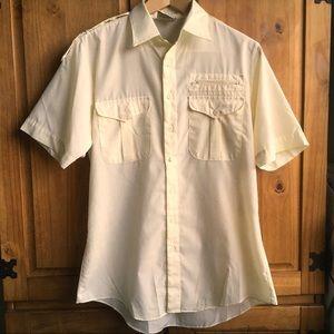 Vintage Men's Pale Yellow Shirt 70s 80s